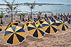 Sunchairs And Umbrellas On The Beach Of Cannes